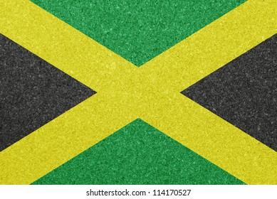 Cork board with the flag of Jamaica painted on it