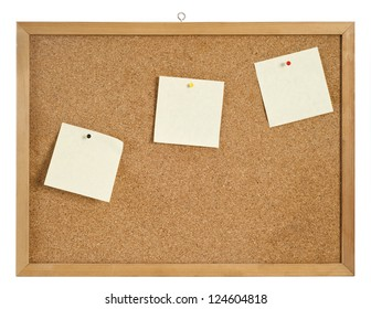 Cork board with hanger and bulletins included clipping path