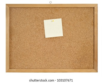 Cork board with hanger and one bulletin. include clipping path.