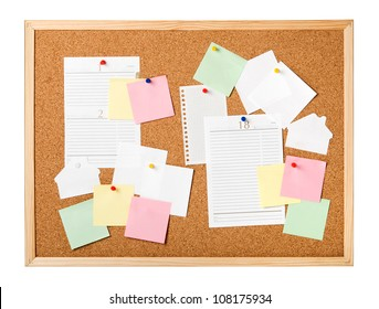 Cork board with notes isolated