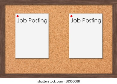 A cork bulletin board with job postings and a wooden frame, Job Postings