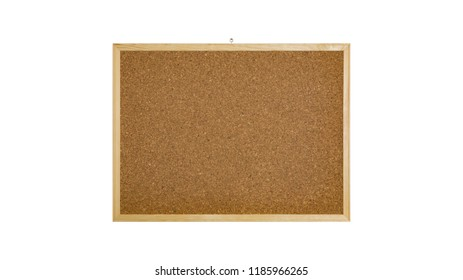 Cork bulletin board with wooden frame on isolated white background