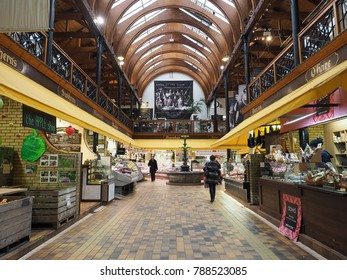 Cork City, Ireland - 11th November 2017:Christmas shoppers walking through the English market in Cork City,The Market open since 1788 is a well know local market popular with locals and tourists alike