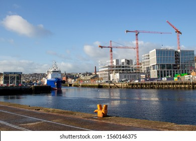 Cork City, Ireland 12 November 2019.  New developments along the quays .   Many cranes that crowd the skyline of the city