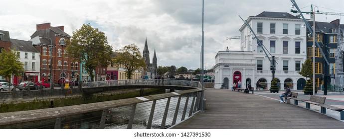 Cork City, Ireland - 18th June, 2019: Cork city centre panorama cityscape