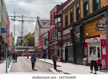 Cork City, Ireland - 18th June, 2019: in Cork city centre,  Oliver Plunkett Street is a well known shopping street in Cork city, Ireland