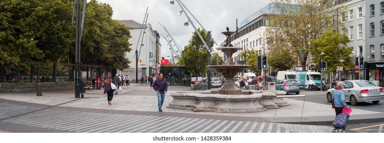 Cork City, Ireland - 18th June, 2019: Street Panorama of Grand Parade street in Cork city centre,Grand Parade, is one of the main streets of Cork city, Ireland