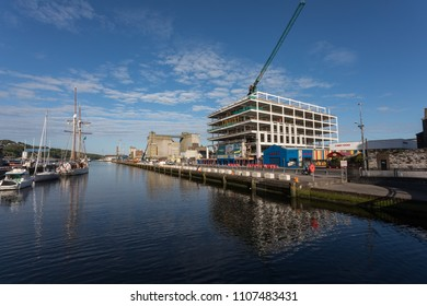 Cork City, Ireland - 18th May, 2018: New office buildings construction development of Navigation Square in the dockland area of Cork city, Ireland