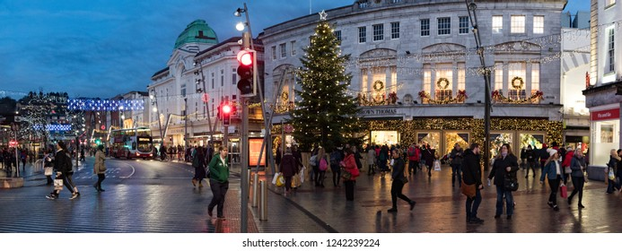 Cork City, Ireland - 23rd November 2018: Christmas shoppers on the streets of Cork city during Black Friday weekend