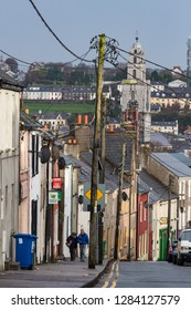 Cork City, Ireland - 23rd November 2018: View of hilly Blarney street in Cork city, Blarney Street in Cork city is known for being the longest street in Ireland