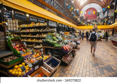Cork City, Ireland - 28th March 2015: Fruit and vegetables for sale in the English market in Cork City,The Market open since 1788 is a well know local market popular with locals and tourists alike.