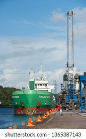 Cork city, Ireland - August 29th, 2012: General Cargo ship Arklow Venus unloading at the port of Cork city, Ireland