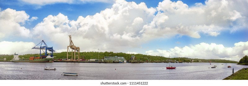 Cork city, river Lee, container port, from Blackrock, Ireland