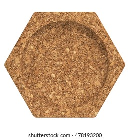 Cork coaster. Isolated on white background. Include clipping path. 3d render