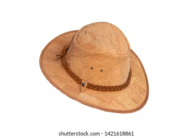 Cork fashion. Closeup of light brown hat made from oak cork isolated on a white background. Mens trendy hat fashion.