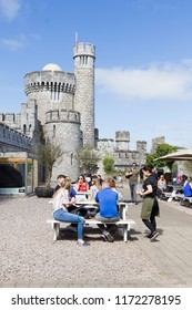 CORK, IRELAND - 06 May, 2018 - People enjoying the restaurant in the Blackrock Castle. The fortification, located by the River Lee, has been created on the 16th century.