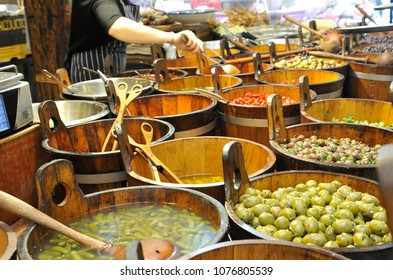 Cork, Ireland / 09/18/2014- Olives and pickles for sale inside the English Market.