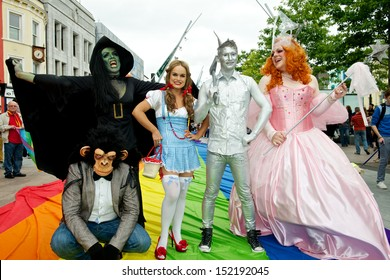 CORK, IRELAND - AUGUST 4 - Unidentified people participating in the annual Cork Gay Pride LGBT Festival Parade 2013 dressed up as characters from the Wizard of OZ, August 4, 2013, Cork, Ireland.