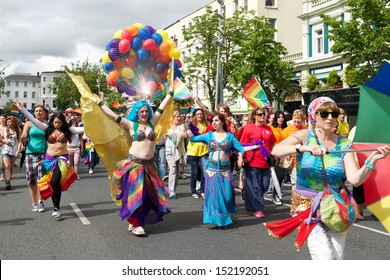 CORK, IRELAND - AUGUST 4 - Unidentified people participating in the annual Cork Gay Pride LGBT Festival Parade 2013, August 4, 2013, Cork, Ireland.
