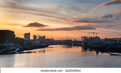 Cork Ireland beautiful scene amazing view River Lee reflection sunset evening