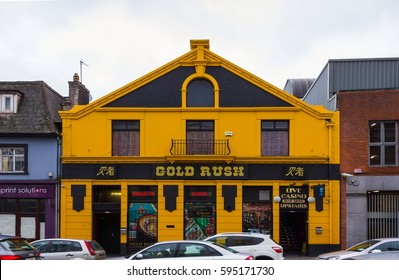 Cork, Ireland - February 12, 2017: Brightly painted old-fashioned casino building located in the central part of Cork in southern Ireland