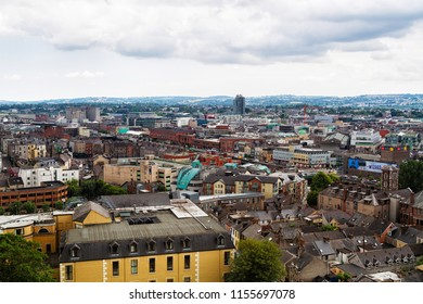 CORK, IRELAND - JULY 13, 2018: Rooftop view of Cork in Ireland from Shandon Bells and Tower St Anne's Church