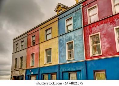 Cork, Ireland - July 6, 2019: Houses and sights along the shores of Cork Ireland.