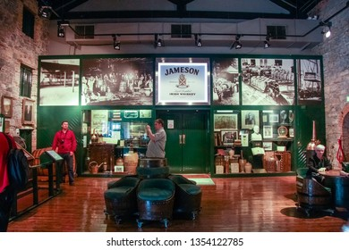 CORK, IRELAND - JUNE 20, 2008:  Main hall in museum of Irish whiskey at The Jameson Heritage Centre  in Midleton Co. Cork, Ireland on JUNE 20, 2008. It is located 12 miles east of Cork City.