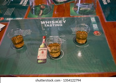 CORK, IRELAND - JUNE 20, 2008:  Table served for tasting Irish, Scotch and American whiskey in museum of Irish whiskey at The Jameson Heritage Centre  in Midleton Co. Cork, Ireland on JUNE 20, 2008.