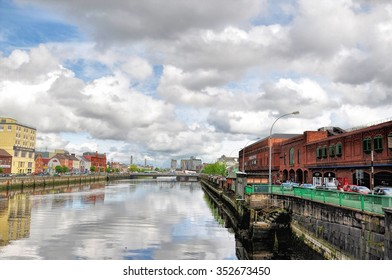 CORK, IRELAND - JUNE 6, 2012 : view of River Lee quays in the city center