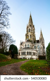 Cork, Ireland. St Fin Barre cathedral with the park in Cork, Ireland