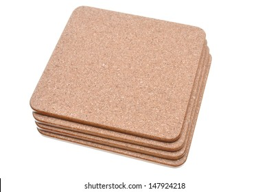 Cork mat with brown border isolated on white background