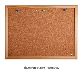a cork Notice board with pins against a white background