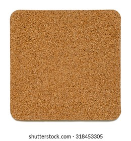 Cork plate with rounded corners isolated on white