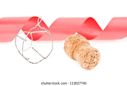 cork and ribbon on a white background