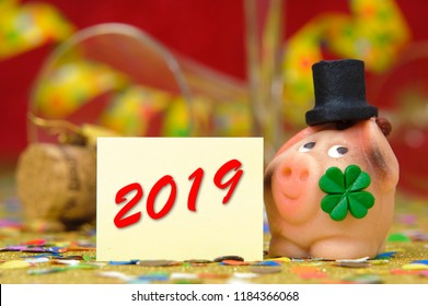 cork stopper of champagne with new year`s date 2019 and lucky charm