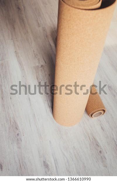 Cork Underlay On New Laminate Floor Royalty Free Stock Image