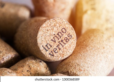 The cork from the wine with the words in vino veritas by laser