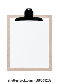 Cork wood note pad clip board isolated on white background