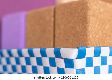 Cork yoga blocks in a Basket