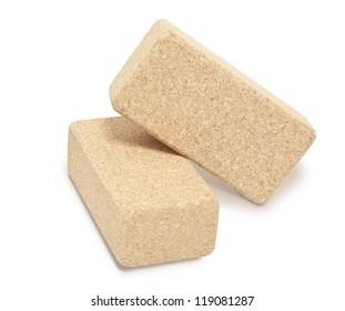 Cork Yoga Blocks isolated on white