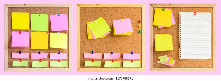 Corkboard or noticeboard with blank colorful sticky notes pad on pink background.