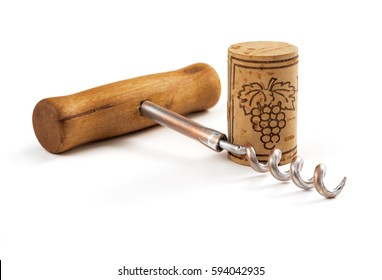 corkscrew with cork on white background