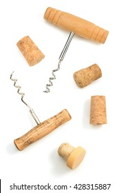 corkscrew and wine cork isolated on white background
