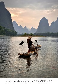 Cormorant fisherman in the village of Xingping China