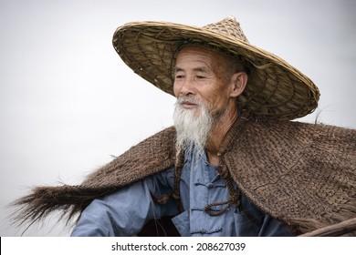 Cormorant fisherman in Yangshuo, Guangxi, China.
