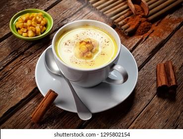 Corn Atole, beverage with maize, milk and cinnamon.