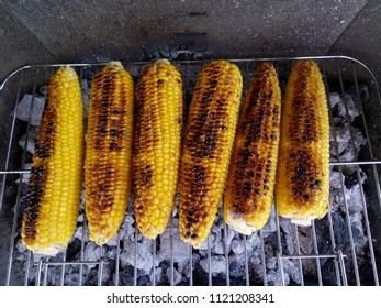 Corn barbeque. Grilling the corn