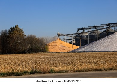 Corn being stock piled at a storage facility.