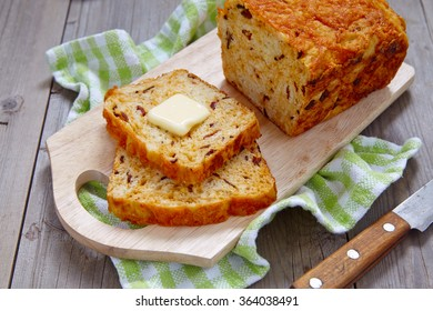 Corn bread loaf with bacon and cheddar cheese